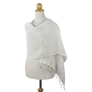 Handmade Cotton 'Breezy White' Shawl (Thailand)