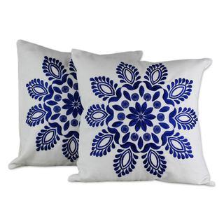 Handmade Set of 2 Cotton 'Blue Delhi Splendor' Cushion Covers (India)