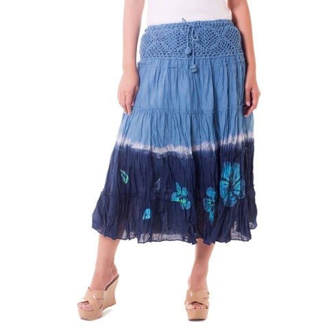 Handmade Cotton 'Blue Boho Chic' Batik Skirt (Thailand)
