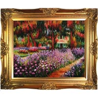 Claude Monet 'Artist's Garden at Giverny' Hand Painted Framed Canvas Art