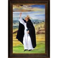 Sandro Botticelli 'St. Dominic' Hand Painted Framed Canvas Art