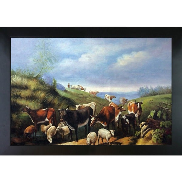Arthur Fitzwilliam Tait 'Down the Road in Franklin County New York' Hand Painted Framed Canvas Art