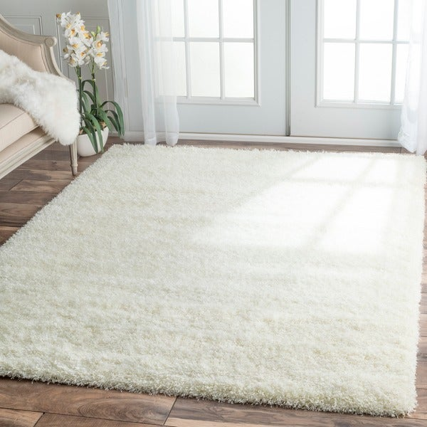 Nuloom soft and plush solid shag white rug 6 39 7 x 9 for 7 x 9 dining room rugs