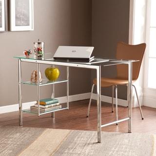 Porch & Den Liberty Chrome/ Glass Desk