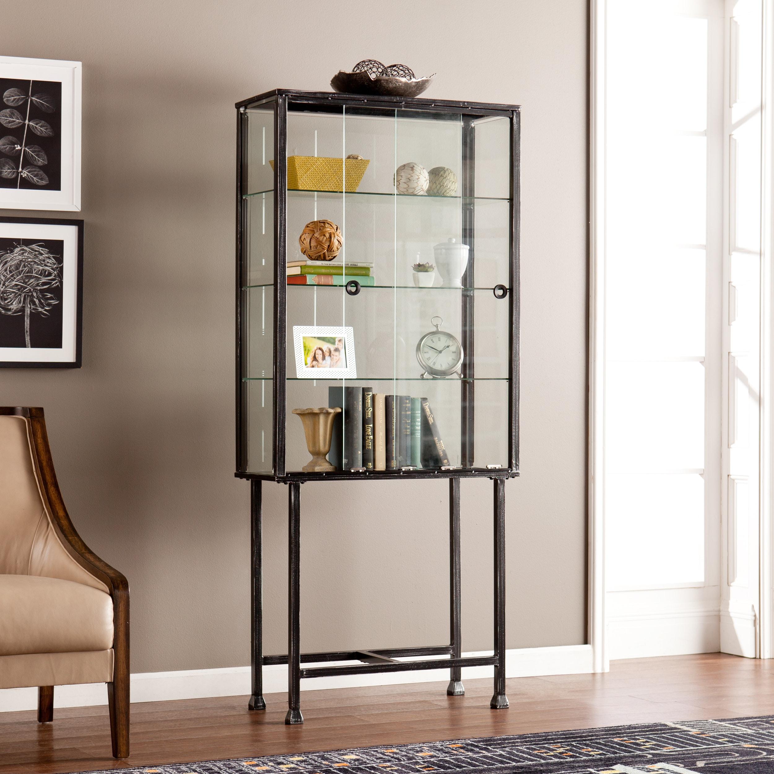 Metal Glass Sliding Door Curio Cabinet Overstock 10610415