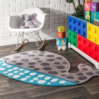 nuLOOM Cute Animal Whale Shaped Kids Nursery Grey Rug - 3' x 5'7
