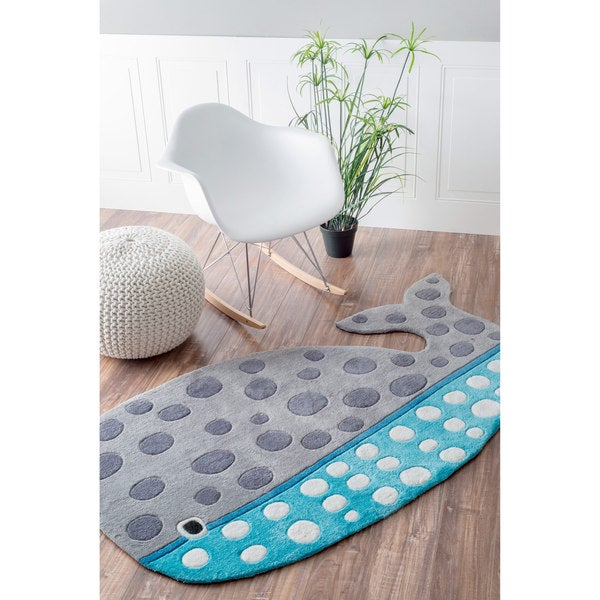 Nuloom cute animal whale shaped kids nursery grey rug 3 x 5