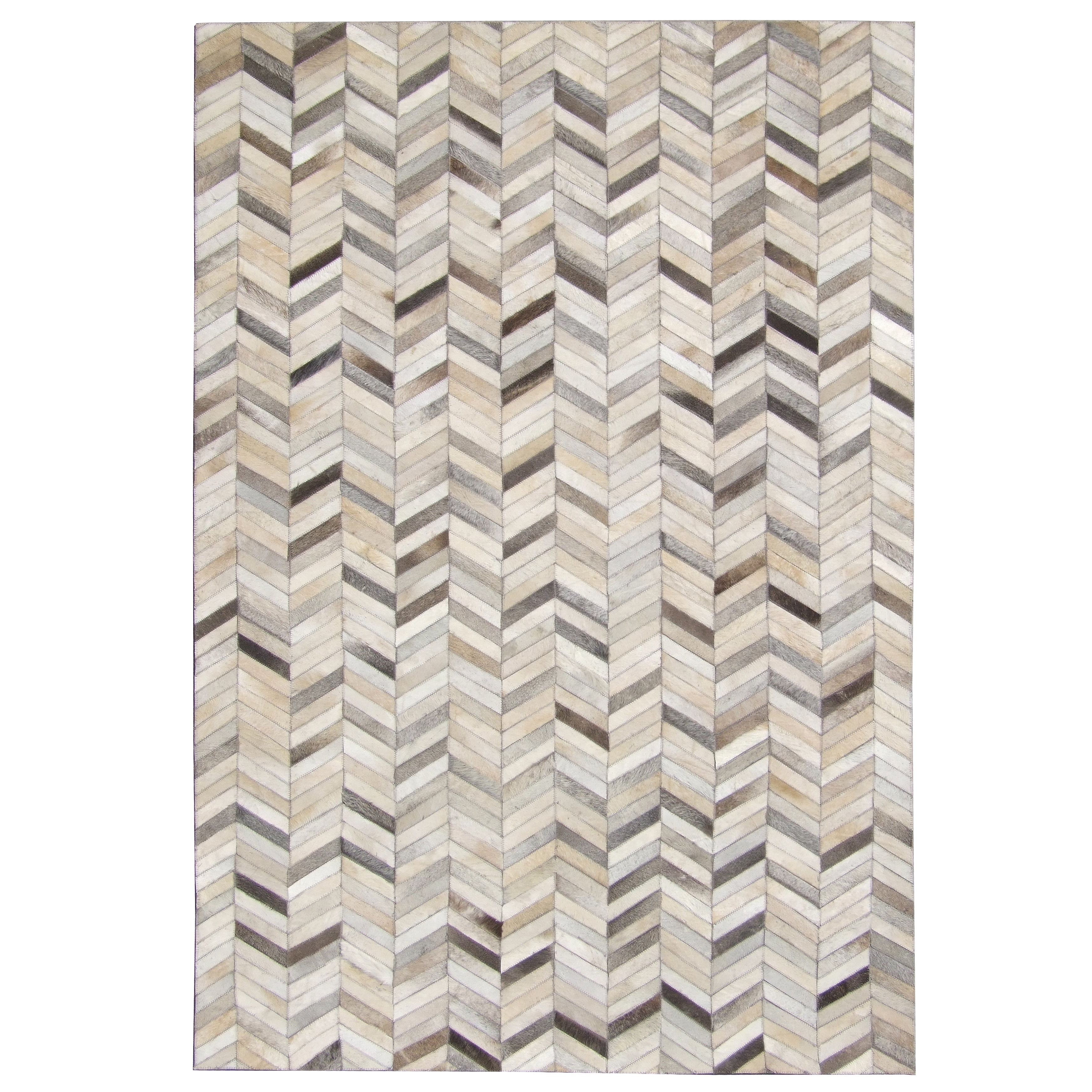 Hand Sched Grey Chevron Cow Hide Leather Rug 5 X27
