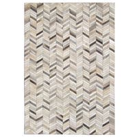 Carbon Loft Montgolfier Hand-stitched Grey Chevron Cow Hide Leather Rug