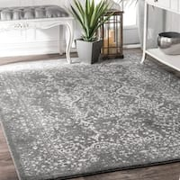 Maison Rouge Hayley Vintage Floral Ornament Silver Area Rug (8' x 10')