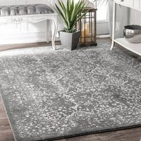 Maison Rouge Hayley Vintage Floral Ornament Silver Area Rug  - 8' x 10'