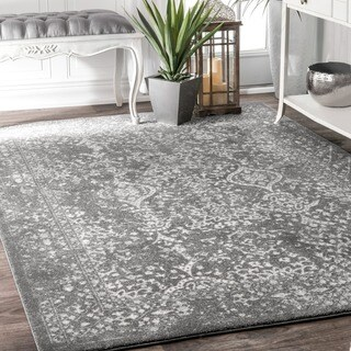 nuLOOM Vintage Floral Ornament Silver Area Rug (8' x 10') (Option: Silver)