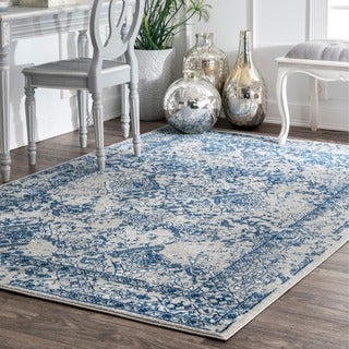 nuLOOM Vintage Floral Ornament Light Blue Rug (4' x 6')