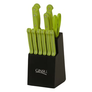 Ginsu Essential Series 14-Pc Stainless Steel Serrated Knife Set – Cutlery Set w/ Lime Green Kitchen Knives, Black Block