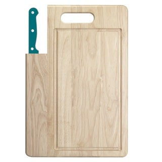 Ginsu Essential Series 2-Piece Large Cutting Board and Teal Santoku Knife Set