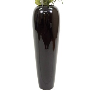 24-inch Lacquer Tapered Floor Vase with Natural Branches