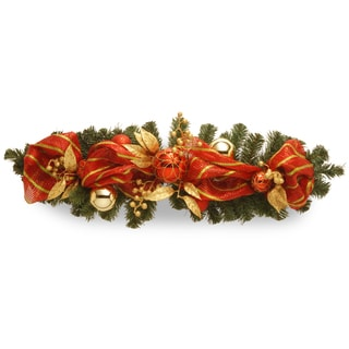 36-inch Decorative Striped Red Ribbon Tablepiece