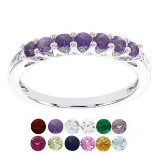 H Star 10k White Gold Birthstone and Diamond Accent Stackable Ring (H-I, I1-I2)
