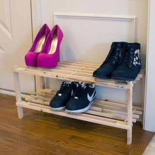 Windsor Home Two-Tier Blonde Wood Shoe Storage Rack