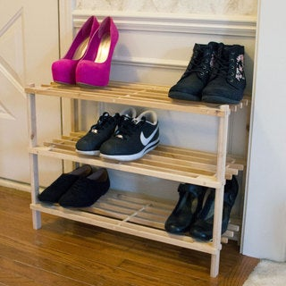 Windsor Home Three-Tier Blonde Wood Storage Shoe Rack