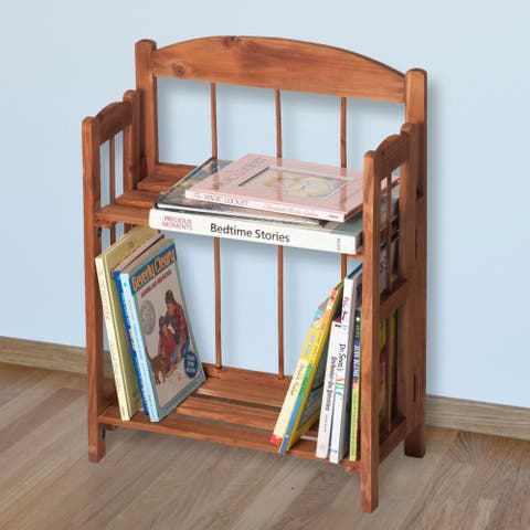 Windsor Home 2 Shelf Light Brown Folding Bookcase for Home and Office - 6.75 x 14.5 x 20.25