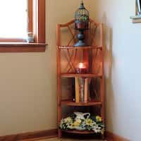 Windsor Home 4 Tier Wood Folding Corner Display Shelf