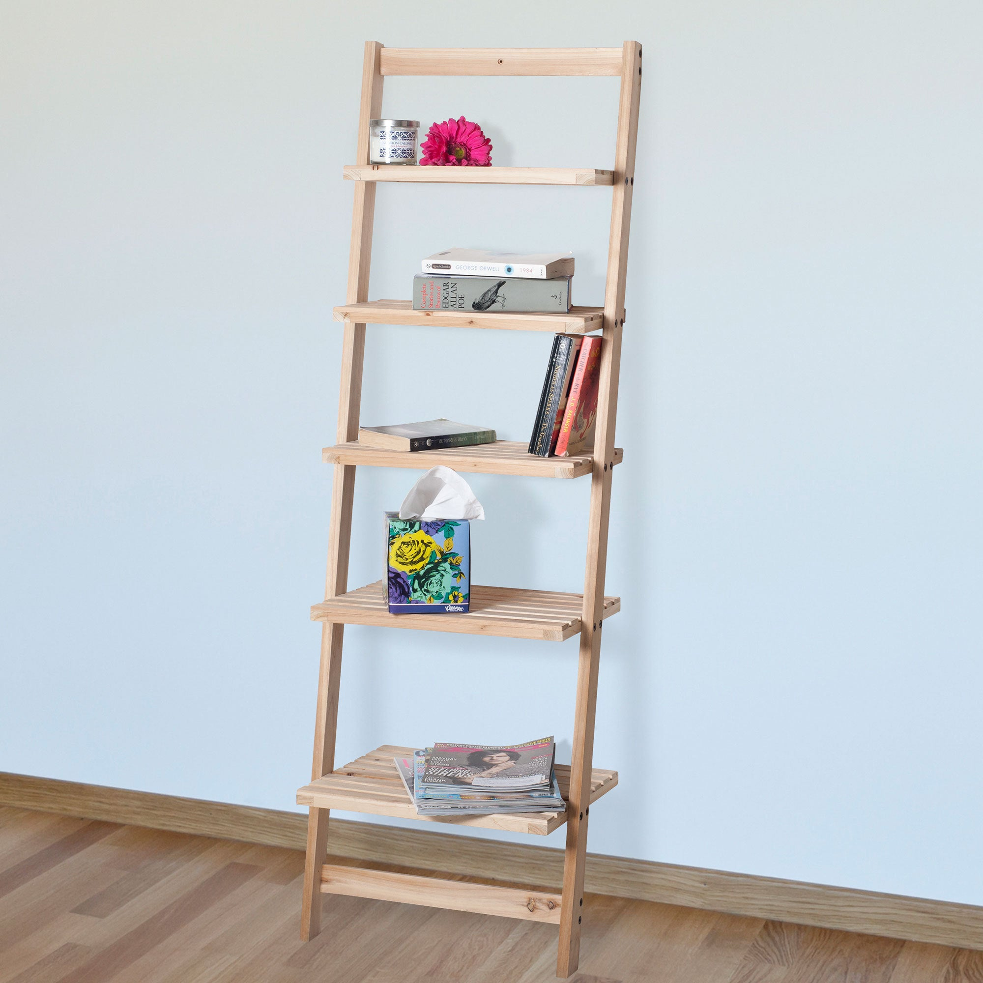 Windsor Home Five Tier Ladder Blonde Wood Storage Shelf