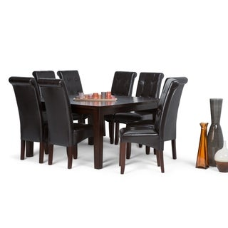 WYNDENHALL Essex Contemporary 9 Pc Dining Set with 8 Upholstered Dining Chairs and 54 inch Wide Table