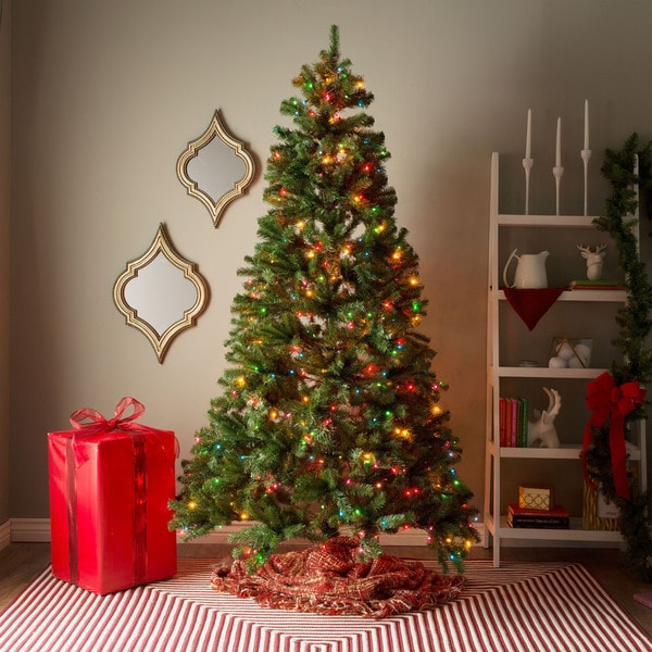 Artificial Christmas Tree With Clear And Colored Lights Part - 39: 7-foot Pre-lit Artificial Christmas Tree W/Clear Or Multicolor Bulbs - Free  Shipping Today - Overstock.com - 17682051