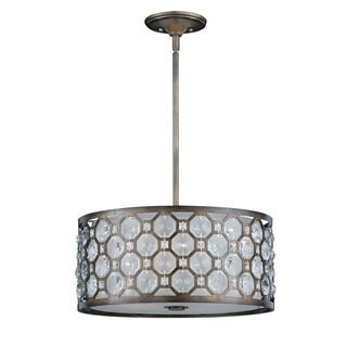Cambridge 3-Light Hand Painted Weathered Bronze Pendant With Crystal Accent
