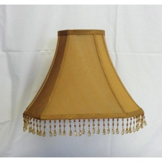 Round Top Square Bottom Gold Silk Beaded Shade