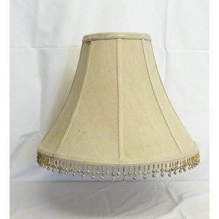 Round Beige Burlap Beaded Shade