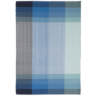 Indo Hand-woven Bliss Blue Plaid Flatweave Area Rug (2'6 x 8')