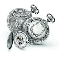 Versil Men's Charles Hubert Antiqued Oval Design Pocket Watch