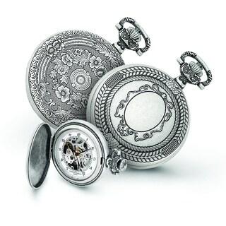 Versil Men's Charles Hubert Antiqued Oval Design Pocket Watch