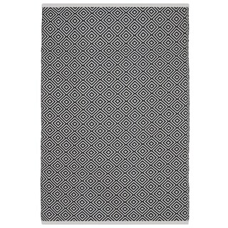 Indo Hand-woven Veria Black and white Geometric Flatweave Area Rug (3' x 5')