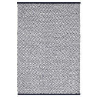 Indo Hand-woven Karma Indigo and White Checkered Flatweave Area Rug (6' x 9')