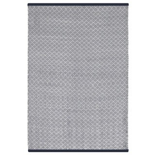 Indo Hand-woven Karma Indigo and White Striped Flatweave Area Rug (8' x 10')