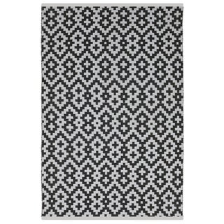 Indo Hand-woven Samsara Black and White Geometric Flatweave Area Rug (6' x 9')