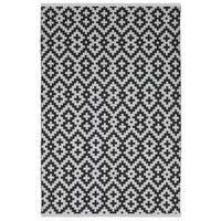 Indo Hand-woven Samsara Black and White Geometric Flatweave Area Rug (8' x 10')