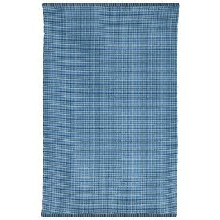 Indo Hand-woven Theory Blue Geometric Flatweave Area Rug (6' x 9')