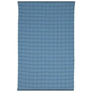 Indo Hand-woven Theory Blue Geometric Flatweave Area Rug (8' x 10')