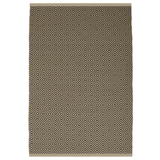Indo Hand-wover Veria Almond and Brown Stripe Flatweave Area Rug (5' x 8')
