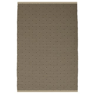 Indo Hand-woven Veria Almond and Brown Geometric Flatweave Area Rug (6' x 9')