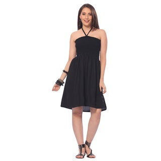 La Leela Solid Partywear RAYON Backless Smocked Casual Black Tube Dress Women