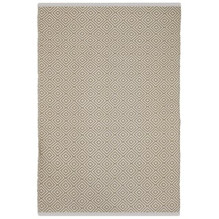 Indo Hand-woven Veria Almond and White Geometric Flatweave Area Rug (2'6 x 8')