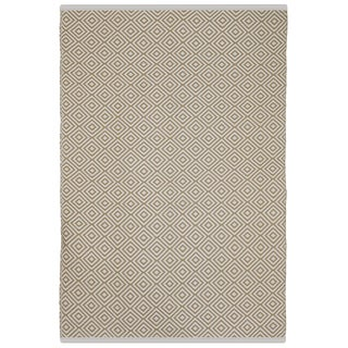Indo Hand-woven Veria Almond and White Geometric Flatweave Area Rug (6' x 9')