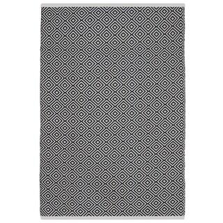 Indo Hand-woven Veria Black and white Geometric Flatweave Area Rug (2'6 x 8')