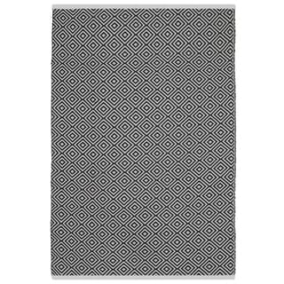 Indo Hand-woven Veria Black and White Geometric Flatweave Area Rug (6' x 9')