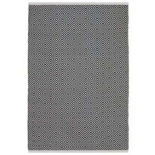 Indo Hand-woven Veria Black and White Geometric Flatweave Area Rug (8' x 10')